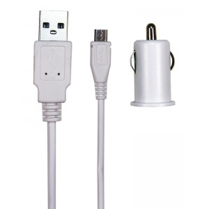Image of 12V MicroUSB Charger White 1.5meter 2.1A
