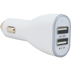 Image of 12V USB Charger 2.1A+1A White