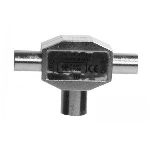 Image of   SX Plus Antenna Splitter Radio Coax M - 2 Coax F Nickel